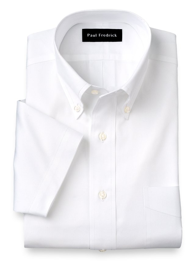 Cotton Pinpoint Oxford Button Down Collar Short Sleeve Dress Shirt