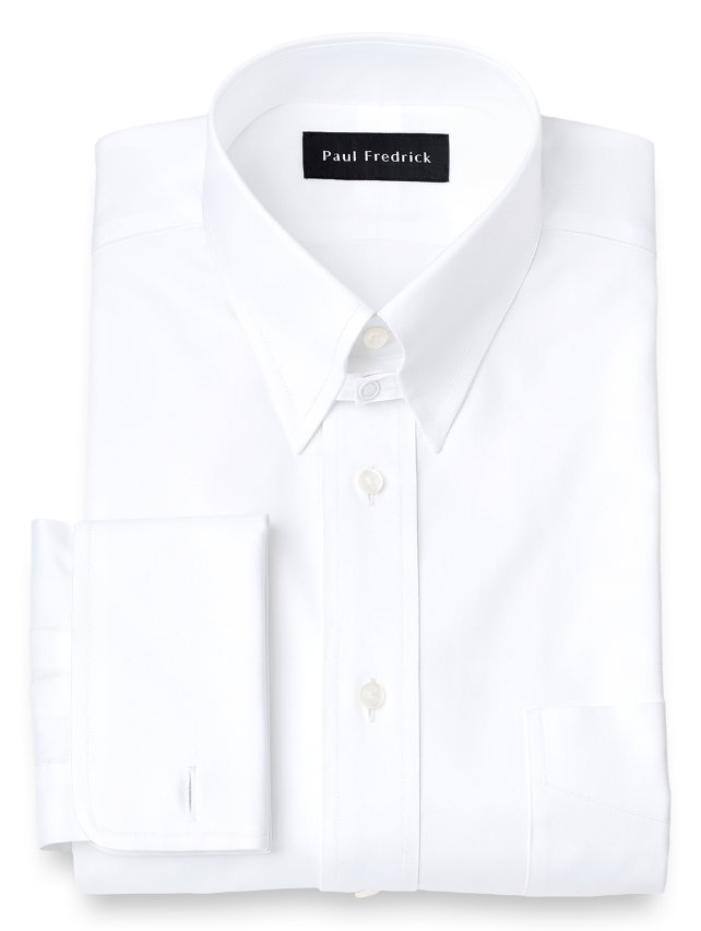 Cotton Pinpoint Oxford Snap Tab Collar French Cuff Dress Shirt
