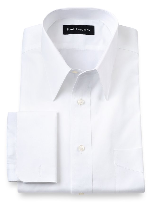 Cotton Broadcloth Edge-Stitched Straight Collar French Cuff Dress Shirt