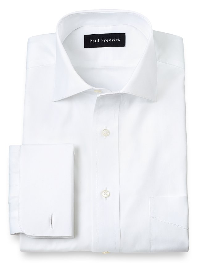 Cotton Broadcloth Cutaway Spread Collar French Cuff Dress Shirt