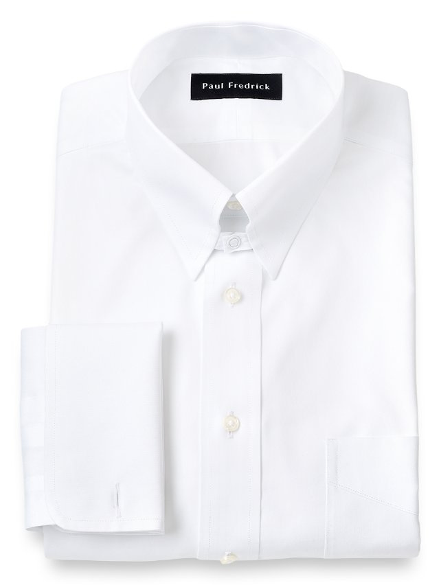 Non-Iron Cotton Pinpoint Snap Tab Collar French Cuff Dress Shirt