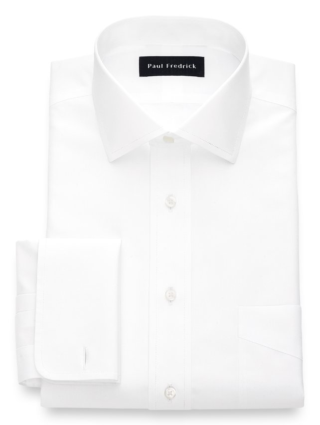 Non-Iron Cotton Broadcloth Spread Collar French Cuff Dress Shirt