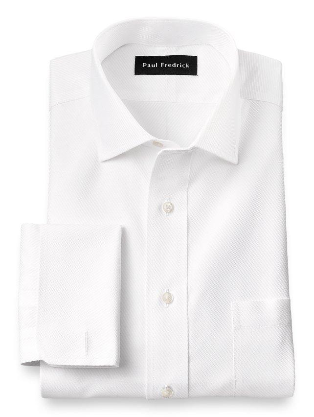 Non-Iron Cotton Twill Windsor Spread Collar French Cuff Dress Shirt