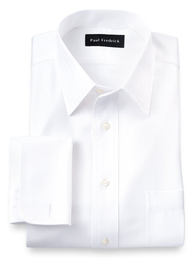 Non-Iron Cotton Herringbone Straight Collar French Cuff Dress Shirt