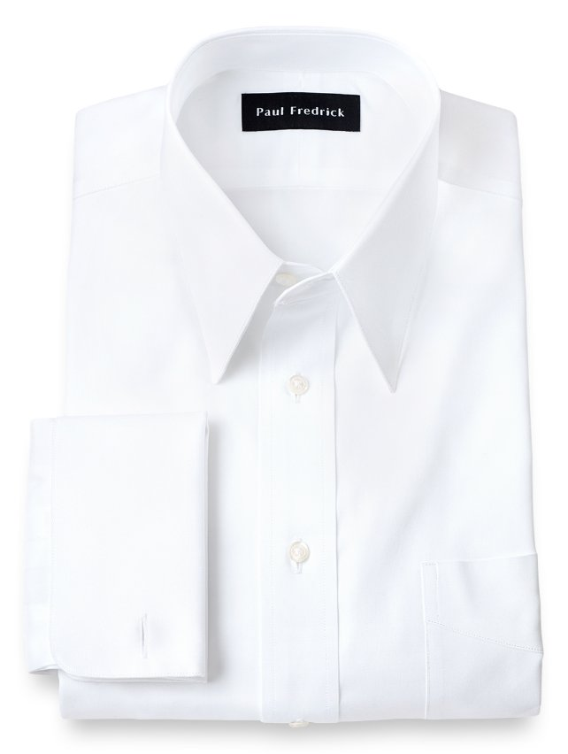 Cotton Pinpoint Oxford Edge-Stitched Straight Collar French Cuff Dress Shirt
