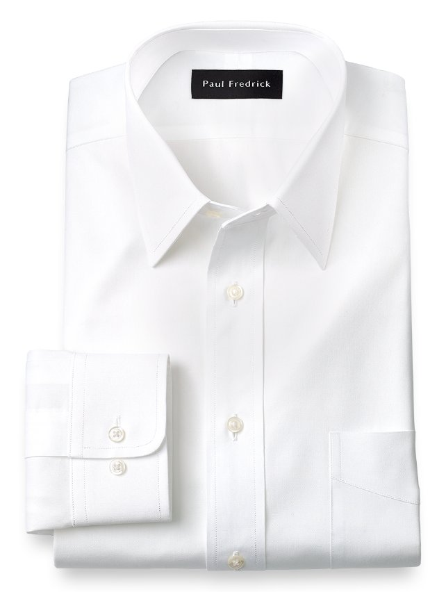 Slim Fit Cotton Pinpoint Oxford Straight Collar Dress Shirt
