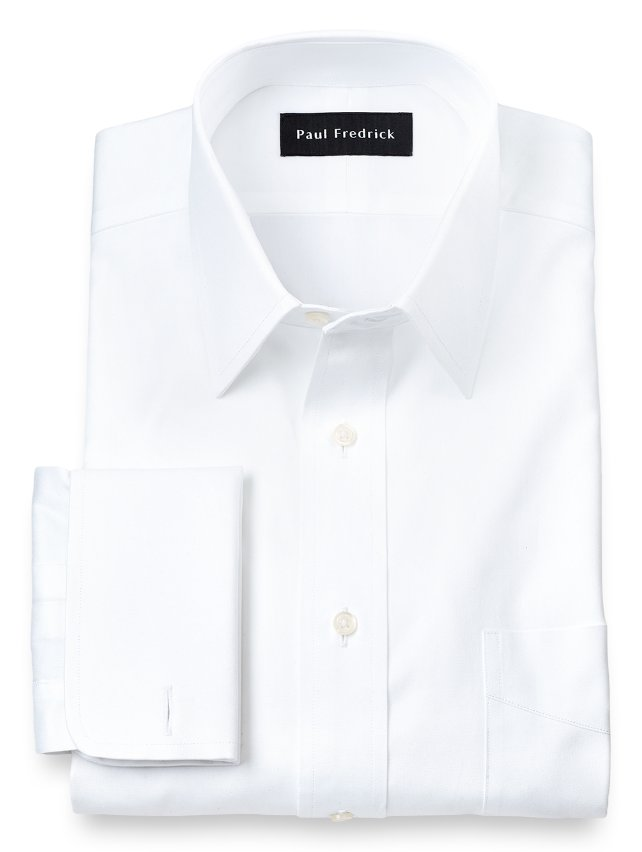 Slim Fit Cotton Pinpoint Oxford Straight Collar French Cuff Dress Shirt