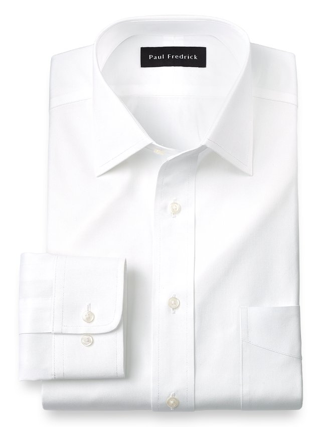 Slim Fit Cotton Pinpoint Oxford Spread Collar Dress Shirt