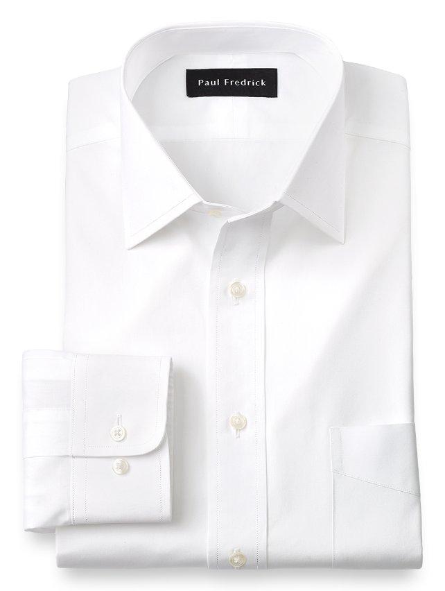Slim Fit Cotton Broadcloth Spread Collar Dress Shirt