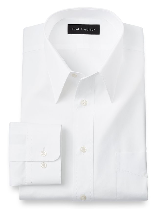 Slim Fit Cotton Broadcloth Edge Stitched Straight Collar Dress Shirt