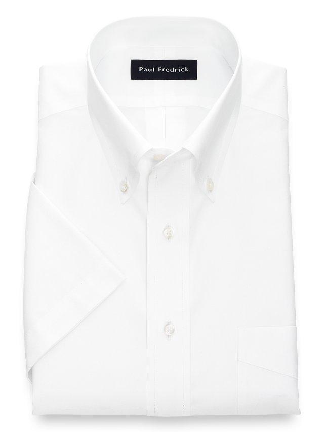 Slim Fit Non-Iron Cotton Pinpoint Button Down Collar Short Sleeve Dress Shirt