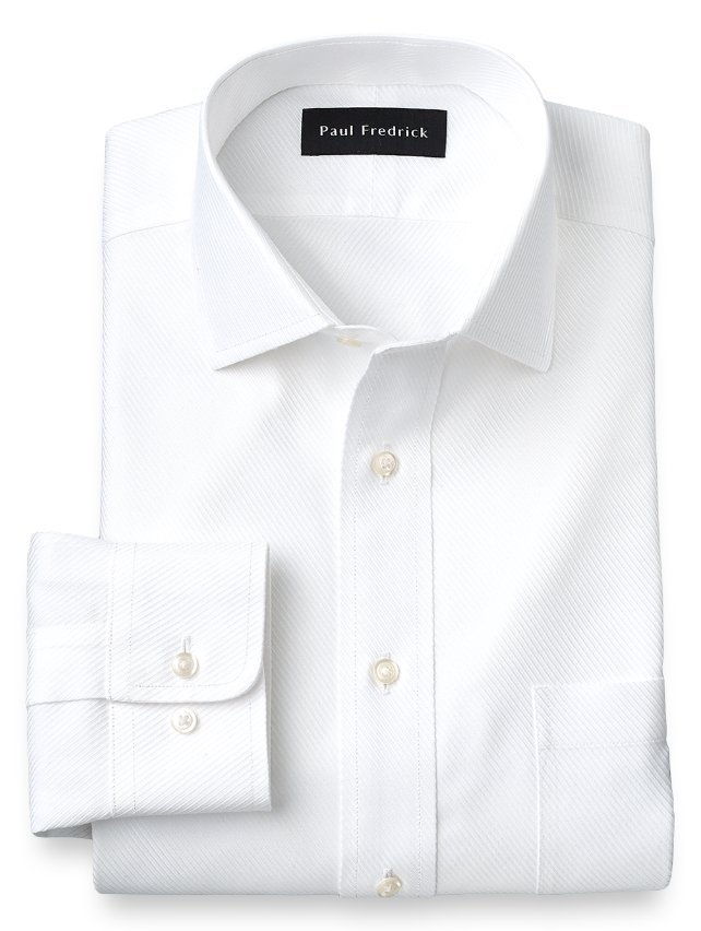 Slim Fit Non-Iron Cotton Twill Spread Collar Dress Shirt