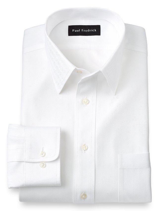 Slim Fit Non-Iron Cotton Herringbone Straight Collar Dress Shirt