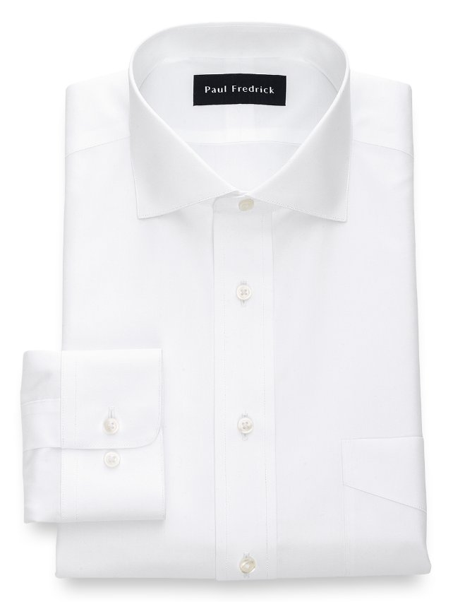 Slim Fit Non-Iron Cotton Broadcloth Spread Collar Dress Shirt