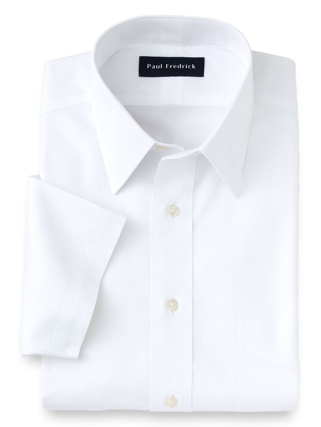 Slim Fit Non-Iron Cotton Broadcloth Straight Collar Short Sleeve Dress Shirt