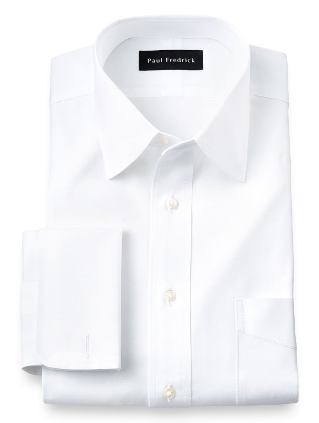 Slim Fit Cotton Pinpoint Oxford Varsity Spread Collar French Cuff Dress Shirt
