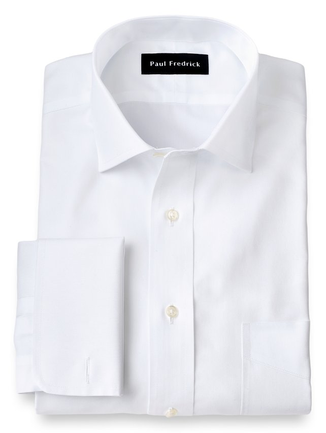 Slim Fit Non-Iron Cotton Pinpoint Spread Collar French Cuff Dress Shirt