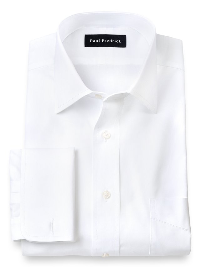 Slim Fit Cotton Broadcloth Spread Collar French Cuff Dress Shirt
