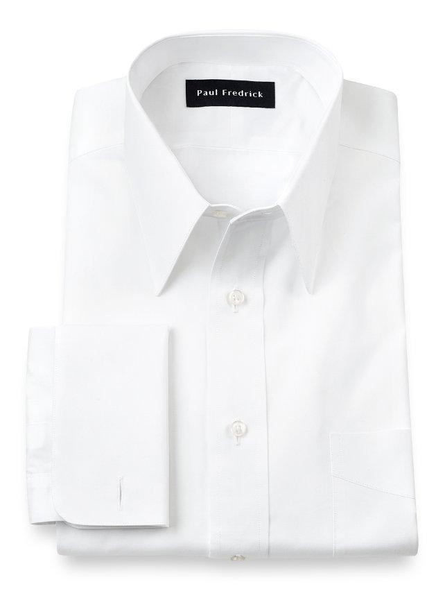 Slim Fit Cotton Broadcloth Edge Stitch Straight Collar French Cuff Dress Shirt