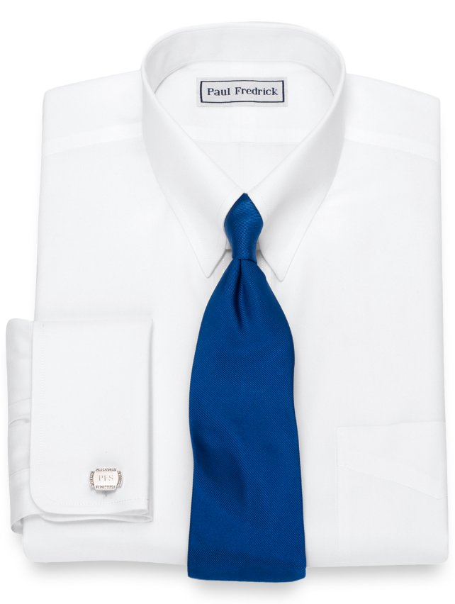 Slim Fit Non-Iron Supima Cotton Button Tab Collar French Cuff Dress Shirt