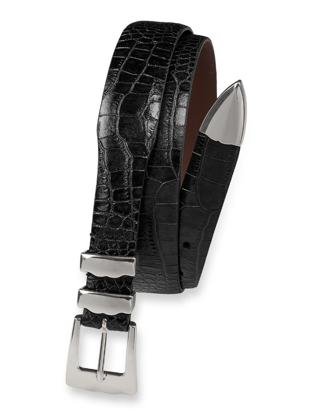 Crocodile Embossed Belt with Metal Keeper & Tip