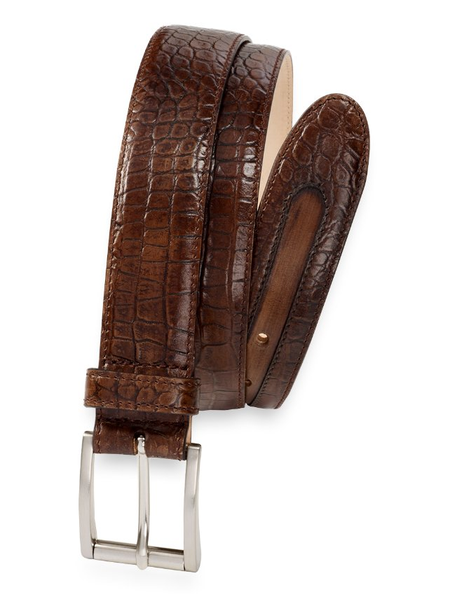 Pierce Embossed Leather Belt