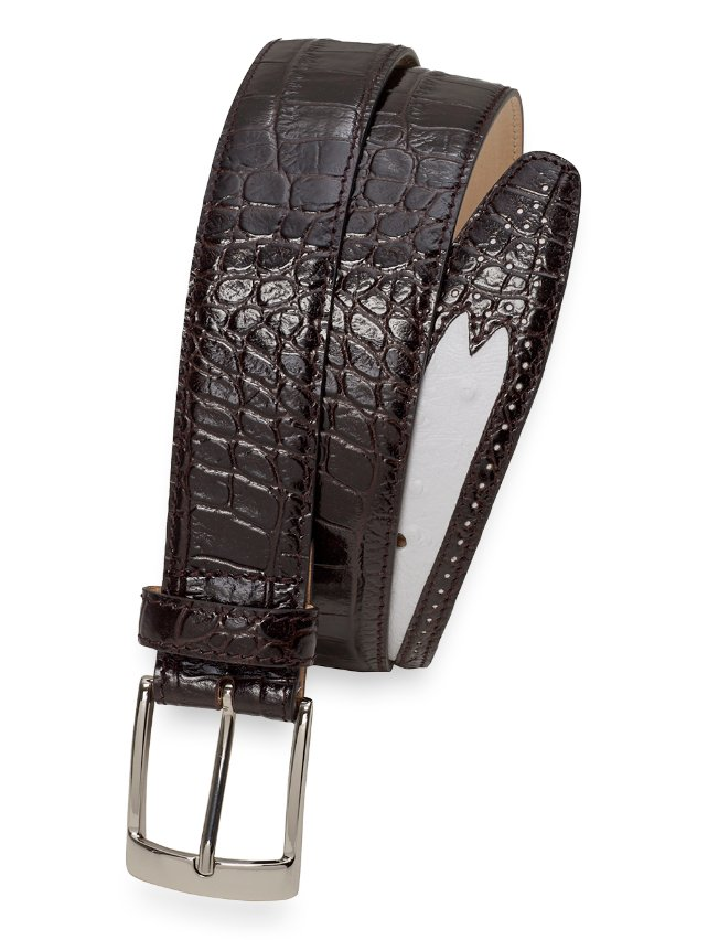 Bray Ostrich And Crocodile Embossed Leather Belt