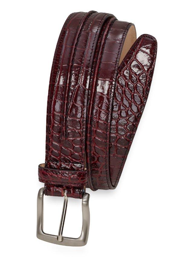 Kelvin Crocodile Embossed Leather Belt