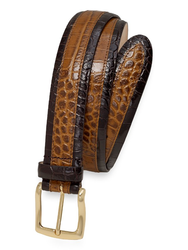 Logan Crocodile Embossed Leather Belt