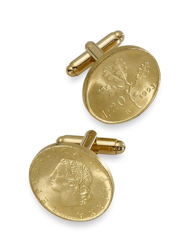 Genuine Italian 20 Lire Coin (coins) Cufflinks