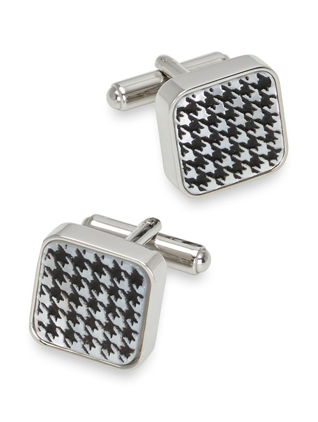 Mother-Of-Pearl Houndstooth Cufflinks