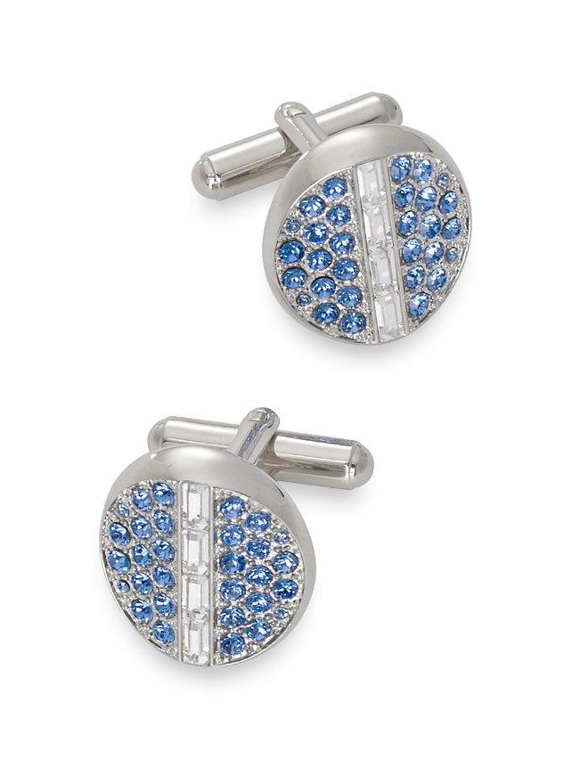Swarovski Crystal Embedded Circle Cufflinks