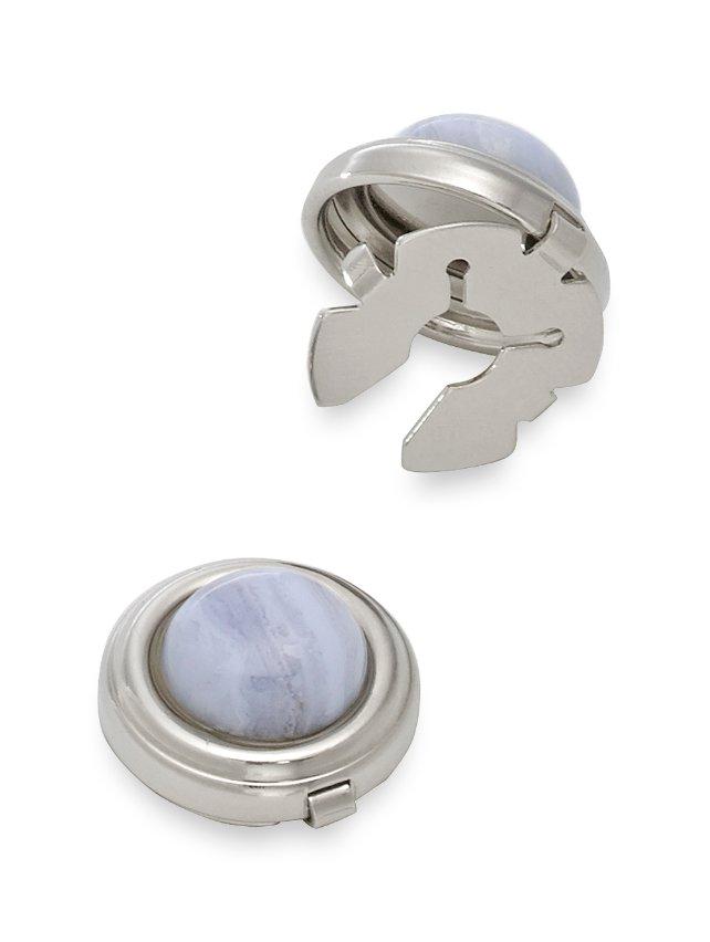 Blue Lace Semi-Precious Circle Button Covers