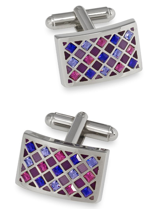 Enamel And Swarovski Crystal Rectangle Cufflink