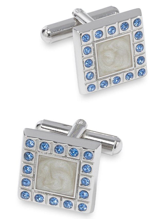 Swarovski Crystal And Enamel Square Cufflink