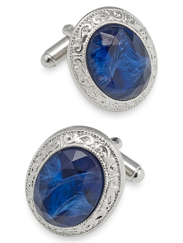German Faceted Glass Stone Oval Cufflink