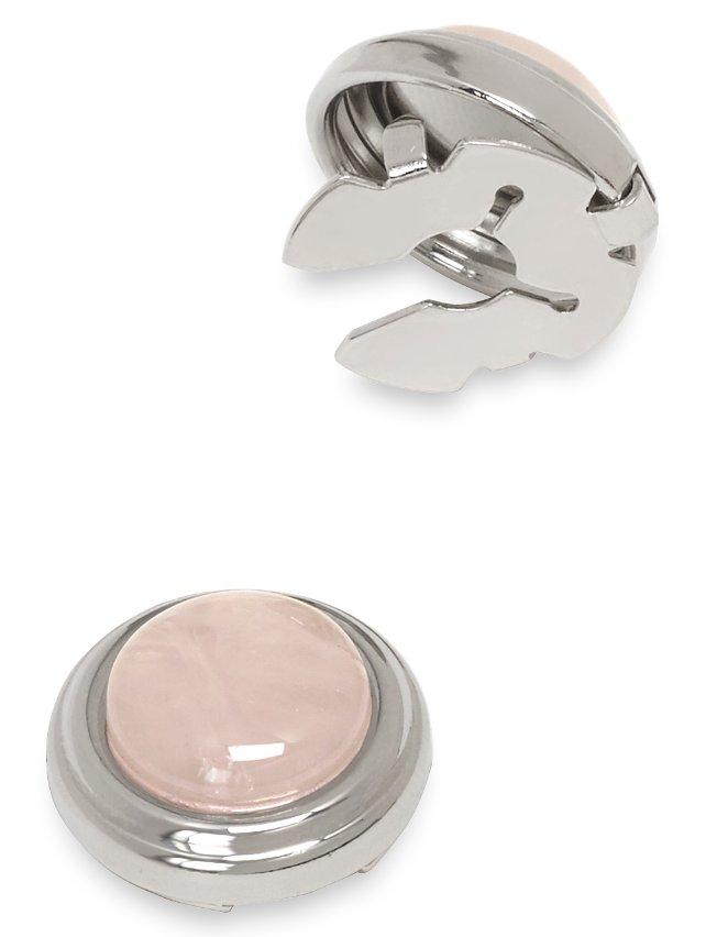 Pink Quartz Stone Button Cover