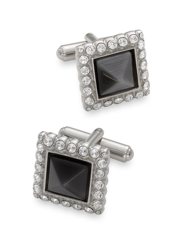 Crystal Bordered Cat's Eye Square Cufflink