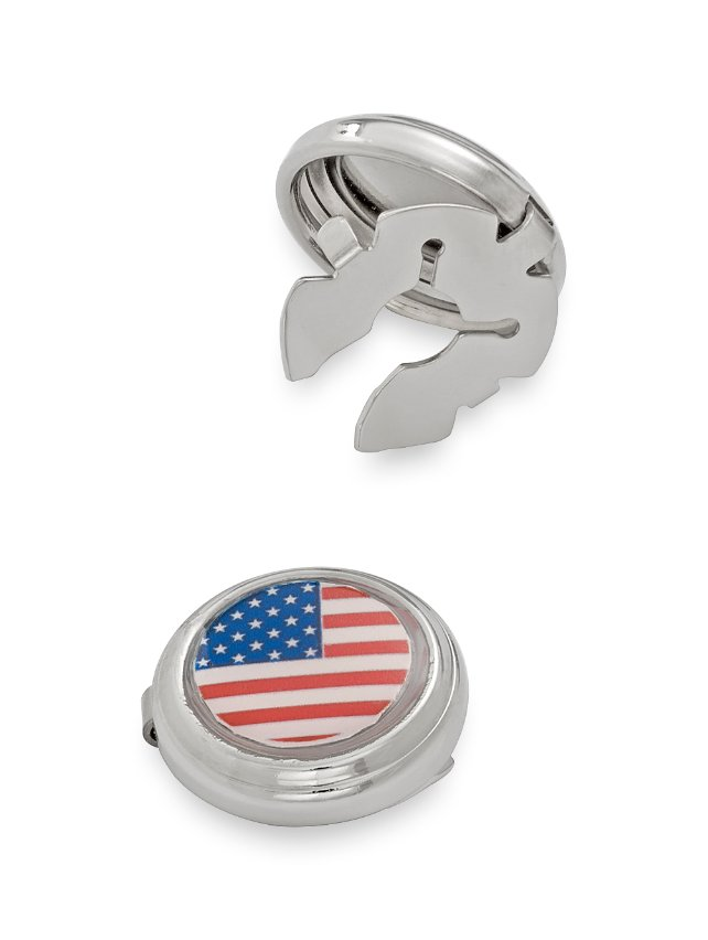 Enamel American Flag Round Button Cover