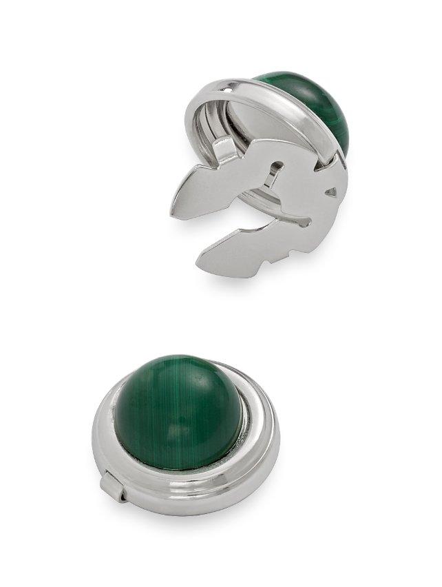 Malachite Semi-Precious Stone Round Button Cover