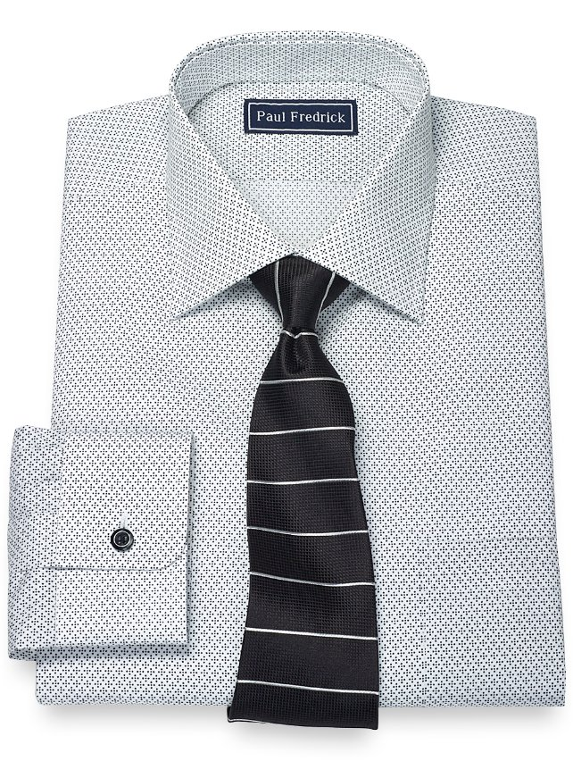 Extra Slim Fit 100% Cotton Diamond Print Pattern Spread Collar Dress Shirt