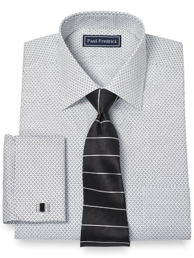 Extra Slim Fit 100% Cotton Diamond Pattern Spread Collar French Cuff Dress Shirt