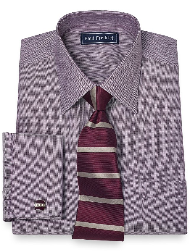 Slim Fit 2-Ply Cotton Herringbone Spread Collar French Cuff Dress Shirt