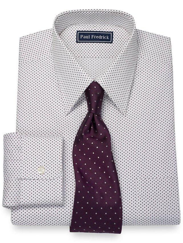 100% Cotton Dot Print Pattern Straight Collar Dress Shirt