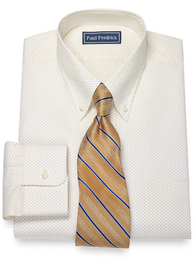 100% Cotton Dot Print Pattern Button Down Collar Dress Shirt