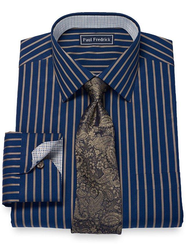 2-Ply Satin Stripe Spread Collar Dress Shirt