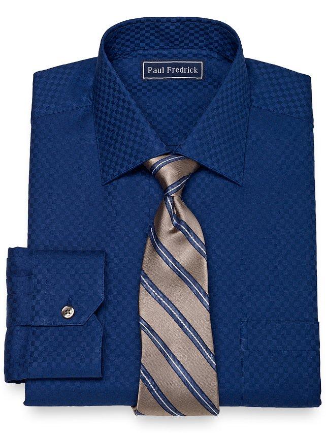 2-Ply Cotton Satin Check Spread Collar Dress Shirt