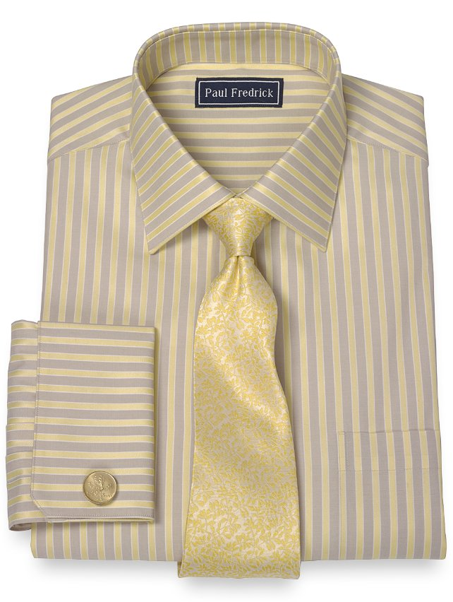 Slim Fit 2-Ply Cotton Satin Stripe Spread Collar French Cuff Dress Shirt