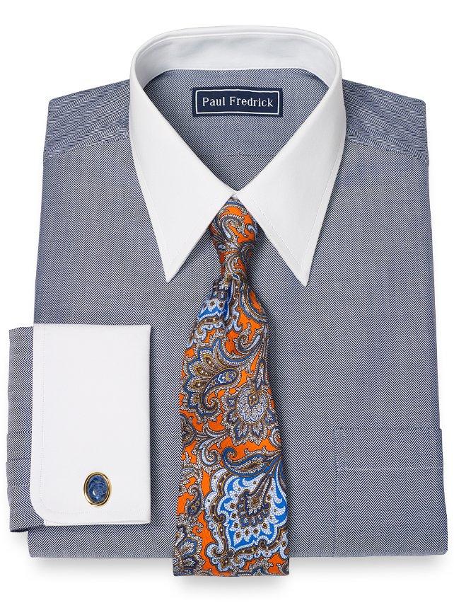 2-Ply Cotton Herringbone Straight Collar French Cuff Dress Shirt