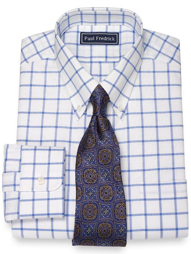 Slim Fit 100% Cotton Pinpoint Windowpane Button Down Collar Dress Shirt